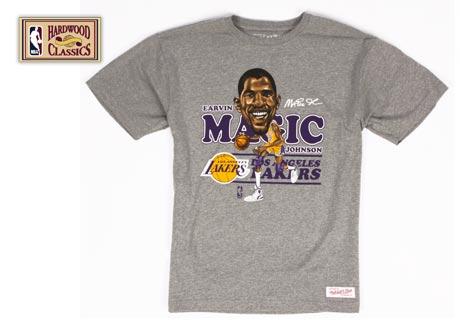 0ed26b92 LOS ANGELES LAKERS Magic Johnson L NBA Gray Caricature T Shirt on ...