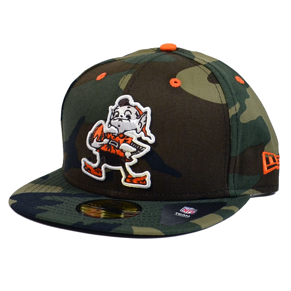 Cleveland Browns Fitted Hats: CLEVELAND BROWNS New Era Woodland Camo Pop 59FIFTY Fitted